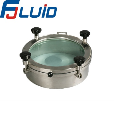 Sanitary pressure manhole cover with glass